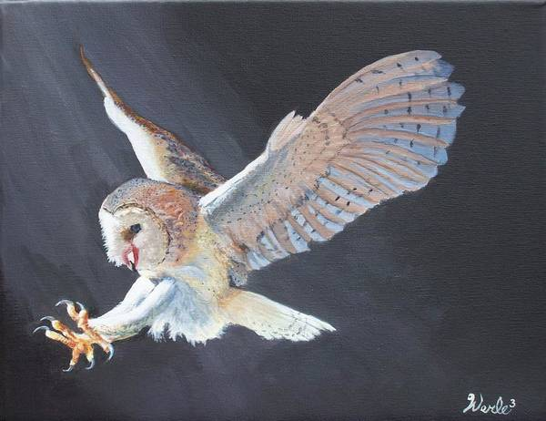 Owl Art Print featuring the painting Second Look by Bill Werle