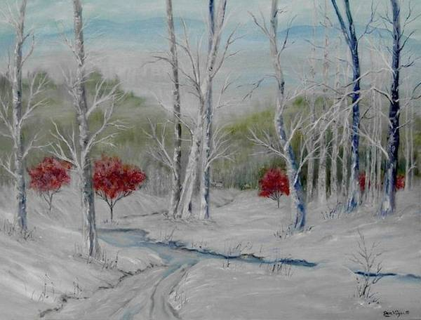 Snow; Winter; Birch Trees Art Print featuring the painting Silence by Ben Kiger