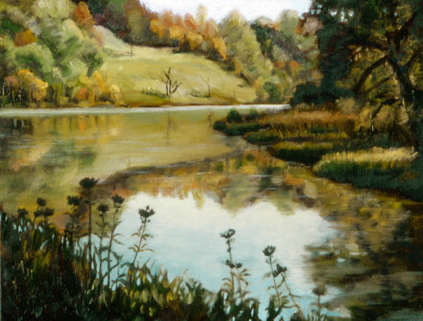 Six Mile Creek Art Print featuring the painting Six Mile Creek Ithaca by John Clum