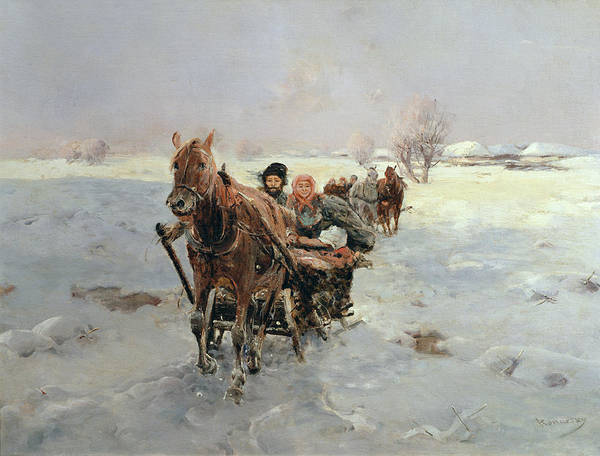 Sleighs Print featuring the painting Sleighs In A Winter Landscape by Janina Konarsky