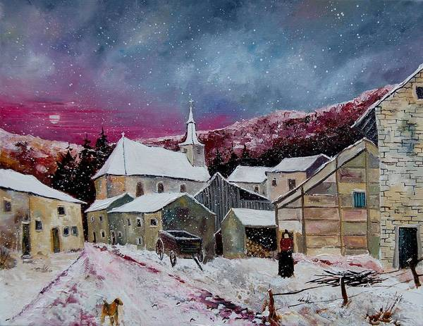 Snow Art Print featuring the painting Snow Is Falling by Pol Ledent