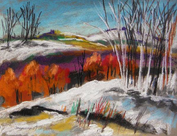 Snow Art Print featuring the painting Snow On The Hills by John Williams