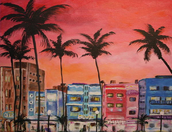 Miami Art Print featuring the painting South Beach by Dyanne Parker
