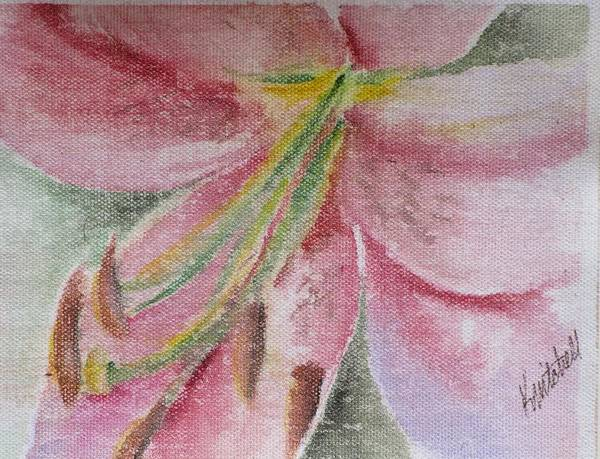 Floral Art Print featuring the painting Spring Lily by Kathy Mitchell