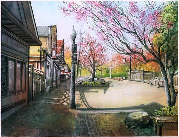 Landscape Art Print featuring the painting Spring On Clarke Street Port Moody by Dumitru Barliga
