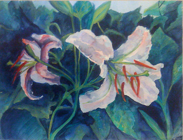 White Art Print featuring the painting Spring Vegitation by Julie Morrison
