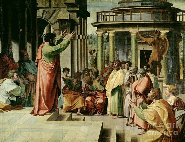 Paul Print featuring the painting St. Paul Preaching At Athens by Raphael