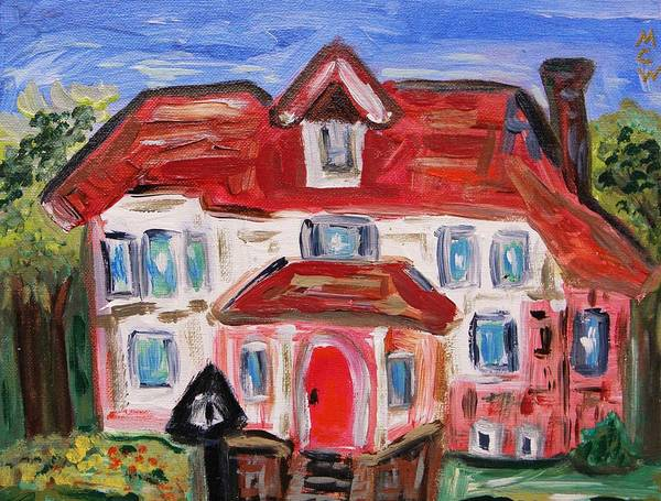Urban Art Print featuring the painting Stately City House by Mary Carol Williams
