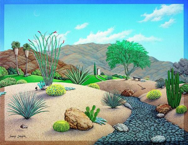 Desert Art Print featuring the painting Steves Yard by Snake Jagger