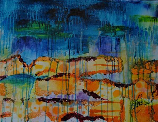 Mixed Media Art Print featuring the painting Strata I by Shelli Finch