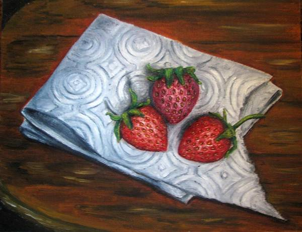 Strawberries Art Print featuring the painting Strawberries-3 Contemporary Oil Painting by Natalja Picugina