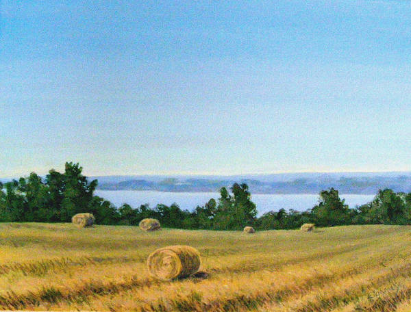 Lanscape Art Print featuring the painting Summer At Cayuga Lake by Evelynn Eighmey