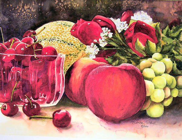 Cherries Art Print featuring the painting Summer Bounty by Karen Stark