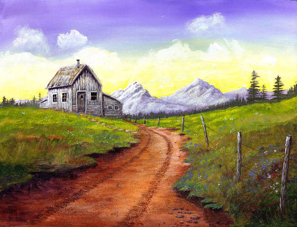 Landscape Art Print featuring the painting Sunlit Cabin by SueEllen Cowan