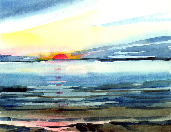 Landscape Seascape Ocean Water Watercolor Sunset Art Print featuring the painting Sunset by Anil Nene
