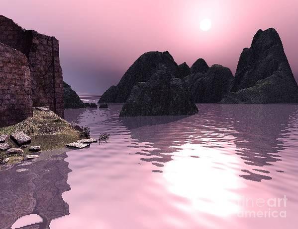 Sunset Art Print featuring the digital art Sunset At The Ocean by John Junek