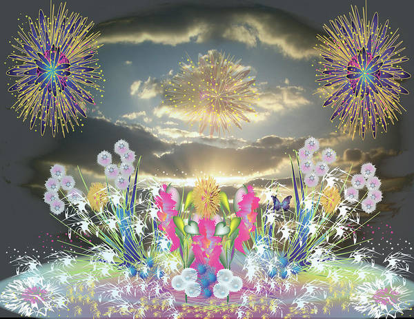 Fantasy Art Print featuring the digital art Sunset Flowers And Fireworks by George Pasini