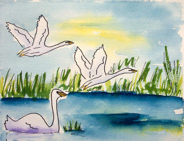 Swans Art Print featuring the painting Swans by Ruth Bevan