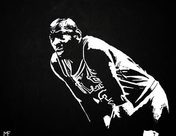 Michael Jordan Art Print featuring the painting Taking A Breather by Matthew Formeller