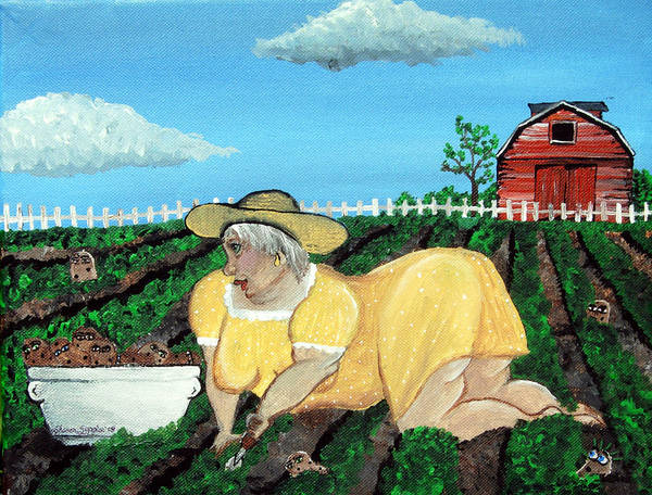 Granny Art Print featuring the painting Taters Have Eyes by Sharon Supplee