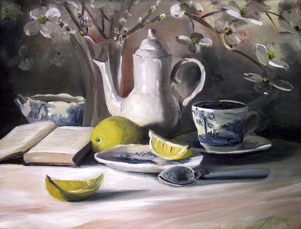 Lemon Art Print featuring the painting Tea With Lemon by Nancy Griswold