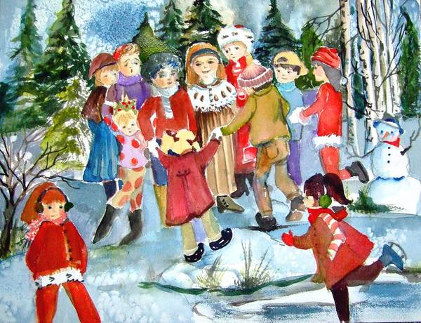 Christmas Art Print featuring the painting The Christmas Party by Mindy Newman