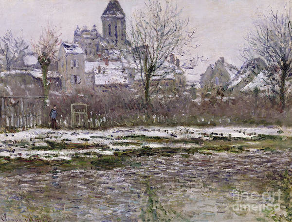 The Art Print featuring the painting The Church At Vetheuil Under Snow by Claude Monet