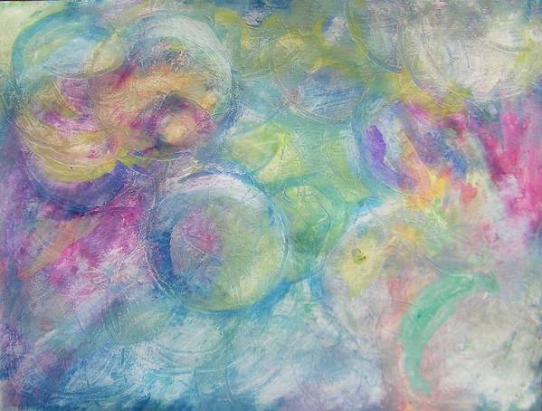 Abstract Art Print featuring the painting The Color Of Bubbles by Judith Redman