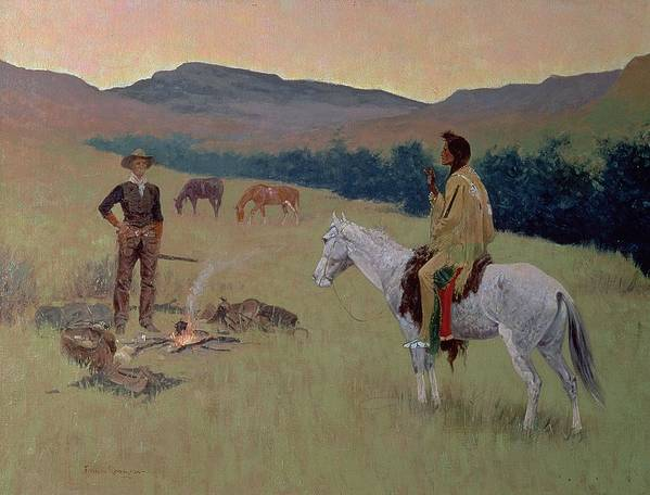 The Conversation Art Print featuring the painting The Conversation by Frederic Remington