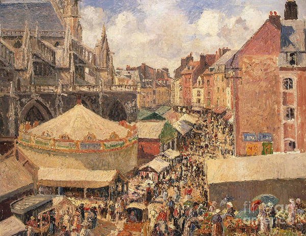 Camille Art Print featuring the painting The Fair In Dieppe by Camille Pissarro