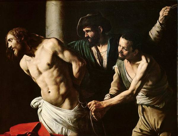 Caravaggio Print featuring the painting The Flagellation Of Christ by Caravaggio
