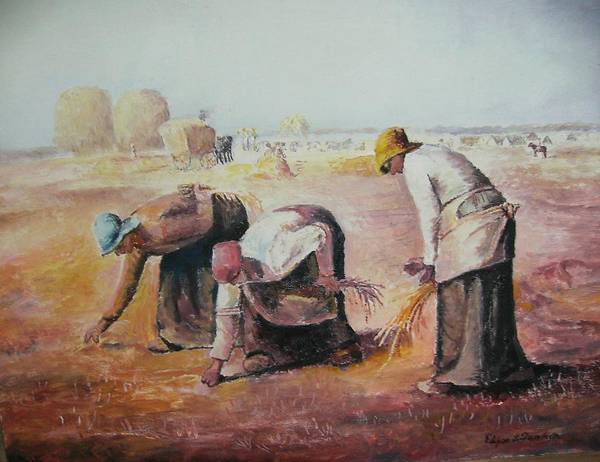 Gleaners Art Print featuring the painting The Gleaners After Millet By My Dad by Anne-Elizabeth Whiteway