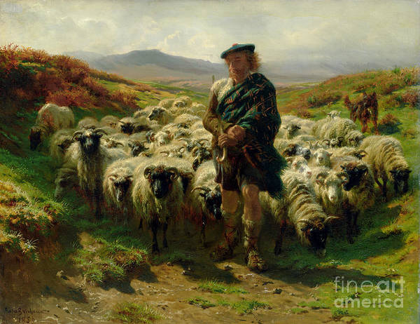 The Art Print featuring the painting The Highland Shepherd by Rosa Bonheur