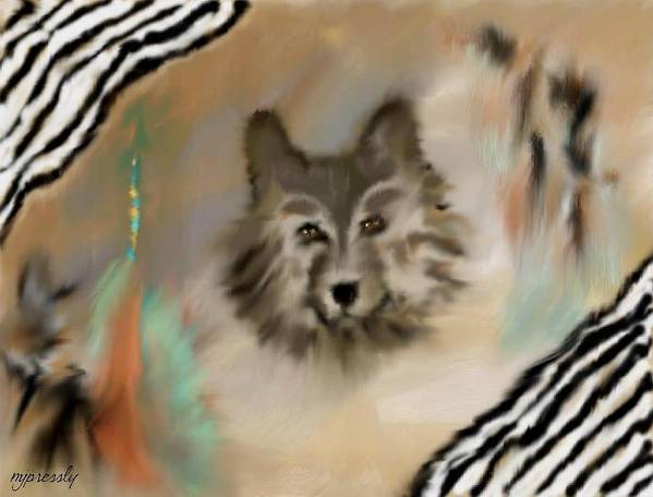 Wolf Art Print featuring the digital art The Hunter By June Pressly by June Pressly