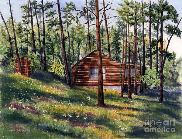 Nature Art Print featuring the painting The Log Cabin by Mary Tuomi