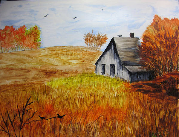 Landscape Art Print featuring the painting The Old Barn by Maris Sherwood