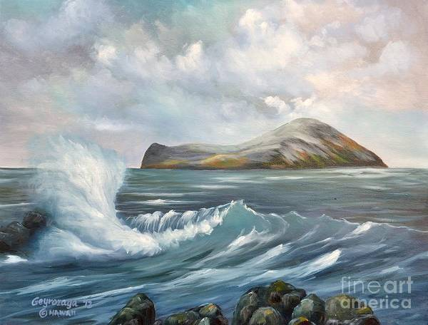 Seascape Art Print featuring the painting The Rabbit Island by Larry Geyrozaga