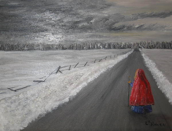 Landscape Art Print featuring the painting The Road That Must Be Traveled by L A Raven