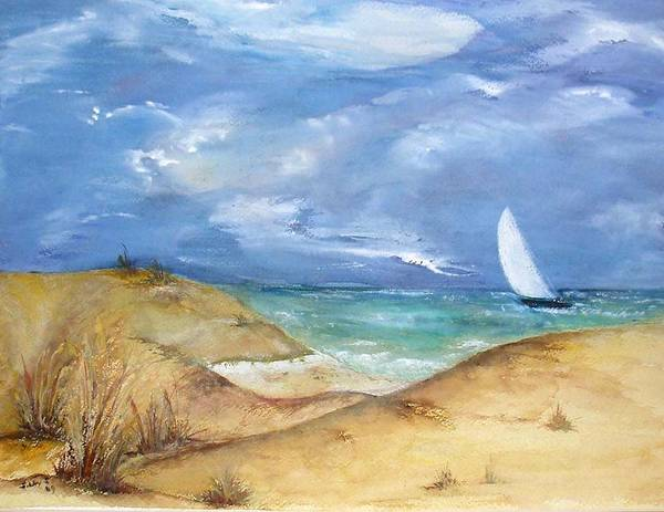Blue Sky Art Print featuring the painting The Sail Boat by Sibby S
