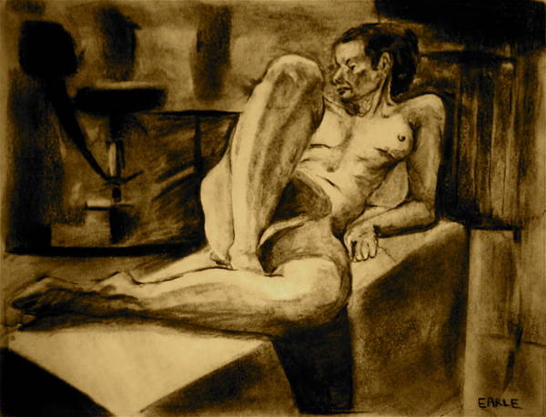 Female Nude Art Print featuring the painting The Studio by Dan Earle