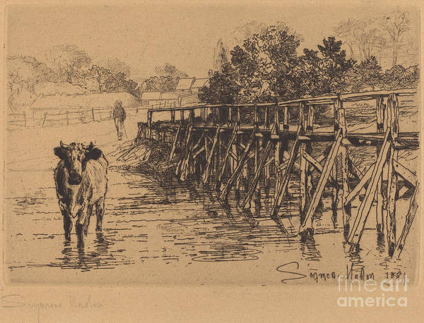Art Print featuring the drawing The Village Ford by Francis Seymour Haden