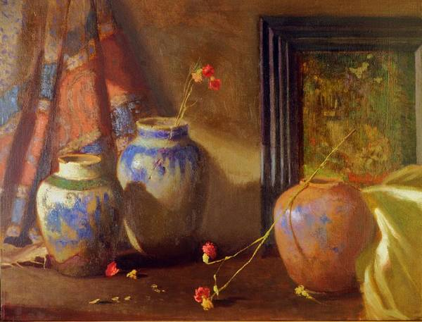 Still Life Impression Art Print featuring the painting Three Vases With Impressionist Painting In Background by David Olander