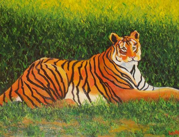 Tiger Art Print featuring the painting Tiger by Lore Rossi