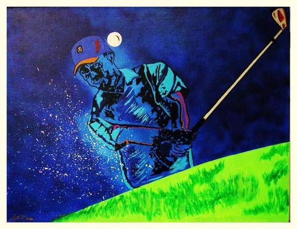 Tiger Woods Paintings Art Print featuring the painting Tiger Woods-playing In The Sandbox by Bill Manson