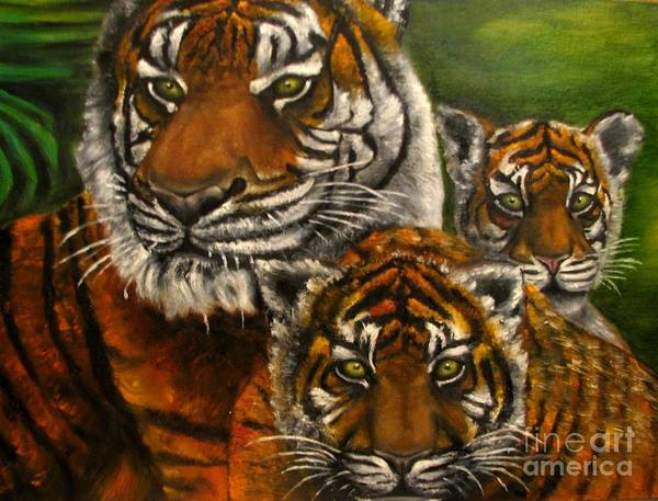 Animals Art Print featuring the painting Tigers Family Oil Painting by Natalja Picugina