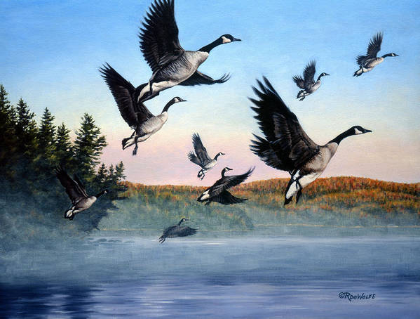 Geese Print featuring the painting Time To Go by Richard De Wolfe