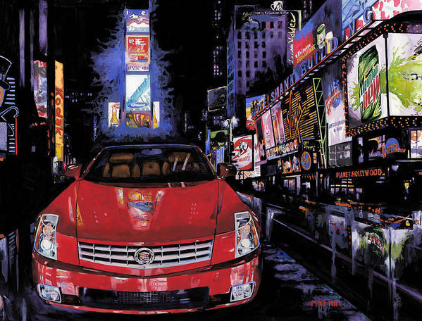 2008 Red Cadillac Caddy Cad Times Square New York City Lights Cityscape Night Mountain Dew Art Print featuring the painting Times Square ....cadillac by Mike Hill