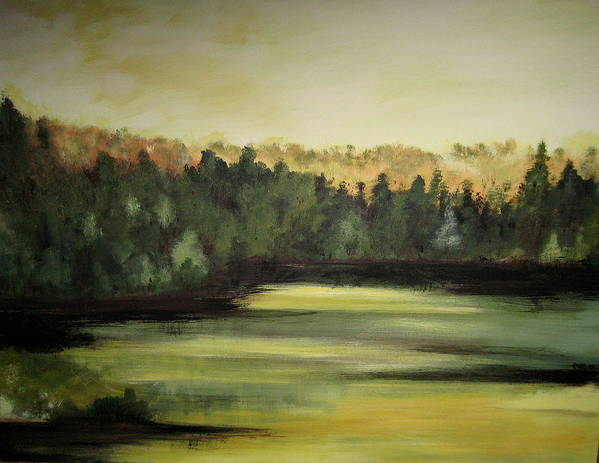 Landscape Art Print featuring the painting Trees In The Mist3 by Marcia Crispino