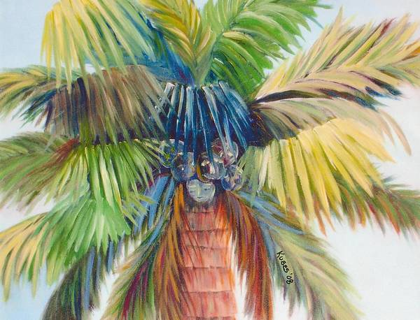 Palm Art Print featuring the painting Tropical Palm Inn by Susan Kubes
