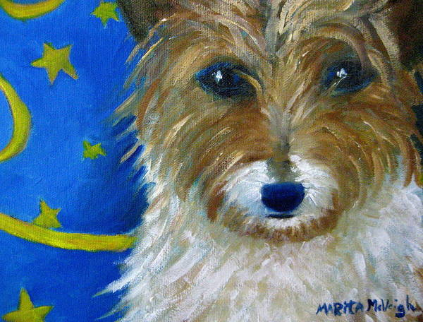 Puppy Art Print featuring the painting Trouble by Marita McVeigh